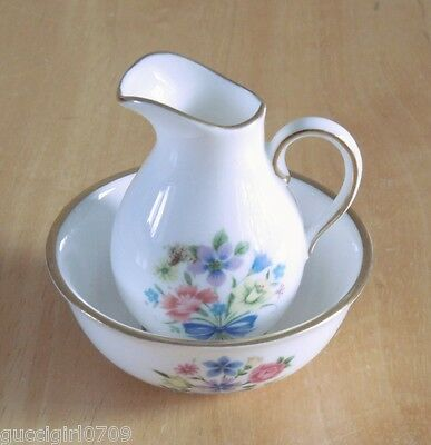 Vintage Spode Fine Bone China Miniature Floral Wash Jug & Bowl Set
