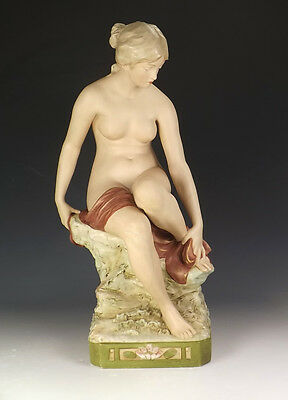 Antique Royal Dux Porcelain - Large Young Lady Figure - Art Nouveau!