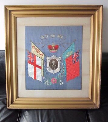 Ww1 Military Naval Hand Embroidered Silk Picture Large Original Frame Navy Flags