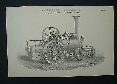 Victorian Farming print from Agricultural Implements Aveling's Traction Engine