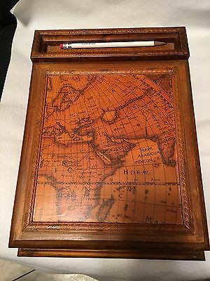 Wood Writing Box with MAP ATLAS FINISH