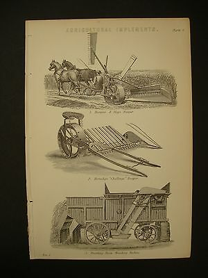 Victorian Farming print from Agricultural Implements Reapers & Steam Thresher