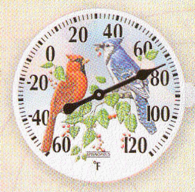 TAYLOR PRECISION PRODUCTS 6-Inch Diameter Outdoor Thermometer With Birds Inset