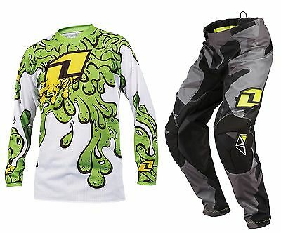 ONE INDUSTRIES YOUTH BLACK CAMOTO MOTOCROSS PANTS / SLIME GREEN childs kit