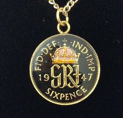 1947 George VI Enamelled Sixpence Coin Pendant. Black/gold/colour. 70th B'day