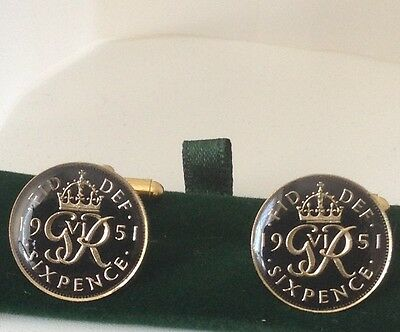 1951 George VI Enamelled Sixpence Coin Cufflinks. Black/gold. 66th Birthday.