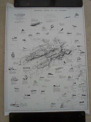 Vintage French map poster of shipwrecks Brittany, France, Naufrages Ouessant