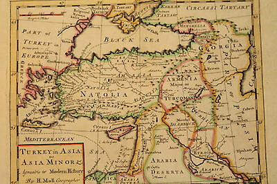 Antique Map - Turkey in Asia Minor - Aggreable to modern history by H.Moll
