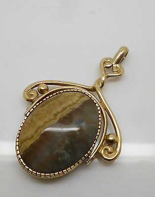 Large Ornate 9ct Yellow Gold & Gemstone Spinning Fob or Pendant ~ Hallmarked