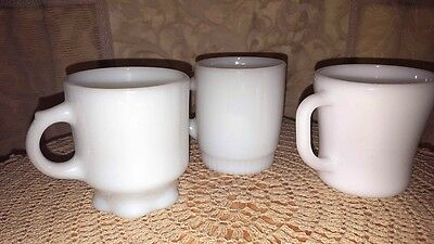 3 Vintage Anchor Hocking Fire-King Mixed Lot Cups/Mugs Opaque White