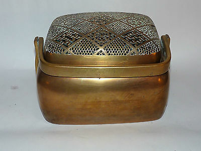 Antique Chinese Brass Hand Warmer, Censer, Paktong, Signed, Large.