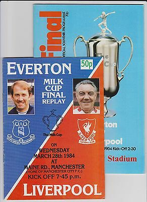 1984  LEAGUE CUP FINAL + REPLAY PROGRAMMES - EVERTON v LIVERPOOL