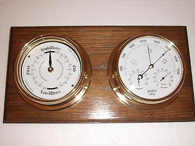 Tide Clock And Barometer And English Oak  Mount