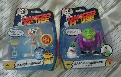dangermouse figure with zip line and Baron Greenback & Nero. Brand new