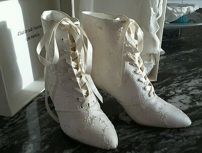 Retro Ivory size 6.5 Wedding/Bridal Ankle Boots Embroidery Anglaise