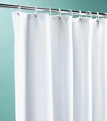 White Waffle Shower Curtains - Various Sizes - Extra Wide Long - Weighted Hem