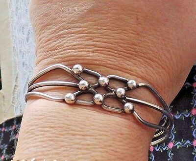 22 gr Modernist Style Sterling Silver 925 BALL GRID Wrought Cuff Bracelet Mexico