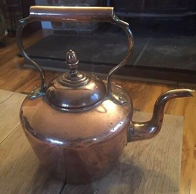 Antique Victorian Copper Brass Kettle DoveTail Goose Neck William Soutter