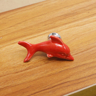 Modern Dolphin Ceramic Drawer Cabinet Door Pull Handle Knob Home Decor Red