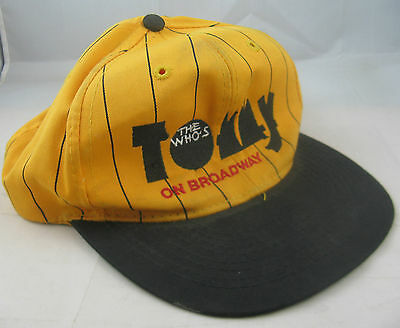 "Vintage The Who - ""tommy On Broadway"" Baseball Cap - Yellow/black -Used But Nice"