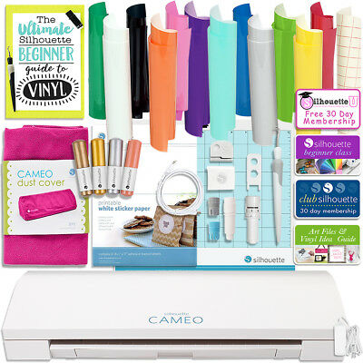 Silhouette Cameo 3 Bluetooth Bundle w/ Oracal 651, Dust Cover, Sketch Pens &More