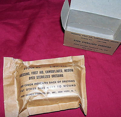 WWII Army Bandage First Aid Dressing Camouflaged Personal Cotton US USGI Medics