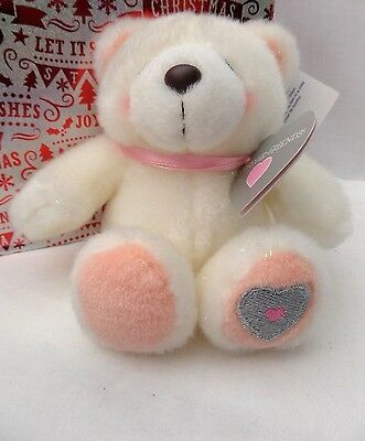 "FOREVER FRIENDS White & Pink heart plush bear 5"" sitting BNWT Valentines"