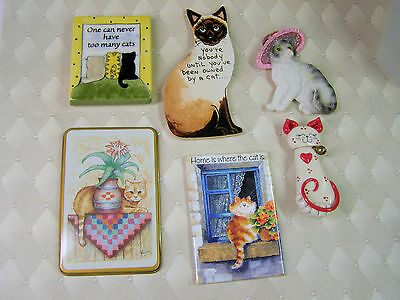 LOT OF 6 Vintage Cat Refrigerator Magnets-Siamese-Leanin Tree-Striped Cats-