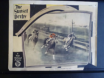 1927 The Sunset Derby - Lobby Card - Horseracing Gambling Track Betting Silent