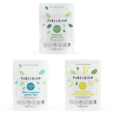 Flavoured Matcha Tea - Regular, Lemon & Mint - 3 x 20g Pouches by PureChimp™