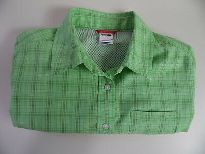 The North Face Light Weight S/S Outdoor/Hiking/Walking Shirt Check Green Small