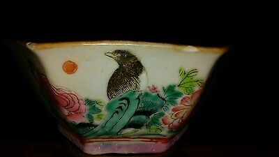 Vtg Chinese 6 Sided Bird And Flowers Marked Bowl
