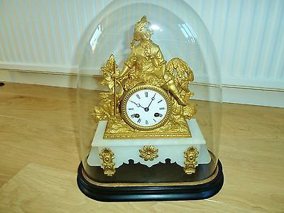 Wonderful Antique French Gilt Dome Clock, Gardener Theme, Circa 1850s. Serviced.