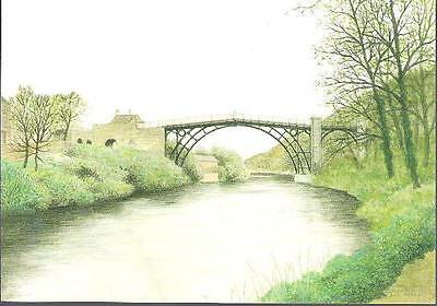 Ironbridge, Shropshire - 1779 painting by Ray Perkins - art postcard