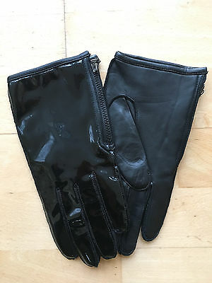 DENTS Black Patent Leather Back Gloves Size 7H : NEW