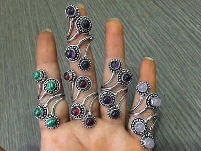 WHOLESALE LOT 5 pcs AMETHYST & MULTI-STONE.925 STERLING SILVER OVERLAY RING
