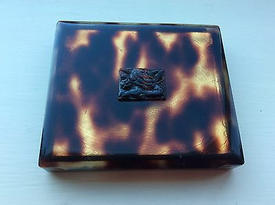 Vintage 'laure' Paris French Powder Compact - In Box - Tortoiseshell Effect