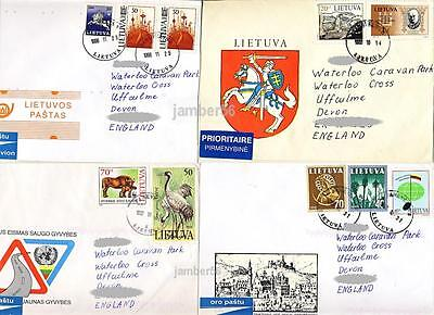 Lithuania Litauen Lietuva 4 used air mail covers sent to GB UK animals religion