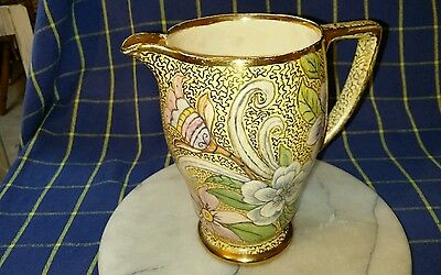 British Anchor Pottery Jug~Gilt &Floral Pattern HandPainted by A.Hanson~1948~VGC