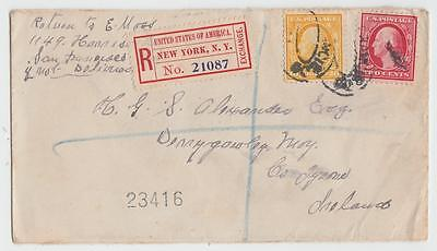 Usa 1910 Registered Cover New York To Moy Ireland