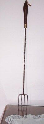 Old Toasting Fork Four Prong Carved Metal Wooden Handle Brass Feral 2 ' Long