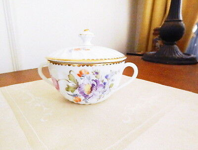 NYMPHENBURG Porcelain #1012Z Covered Cream Soup Cup / Bowl - NICE!