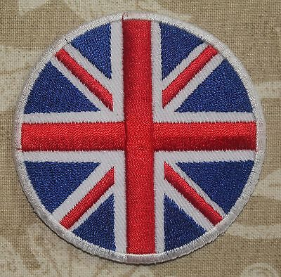circular UK Flag Embroidered Iron / Sew On Union Jack Patch