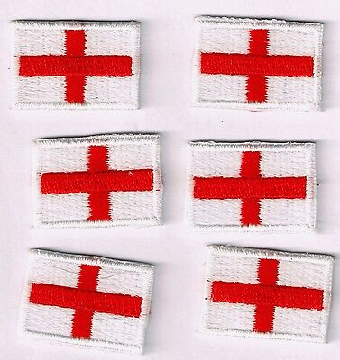 UK Flag Embroidered Iron / Sew On England St. George's Flag Patch (Pack of SIX)