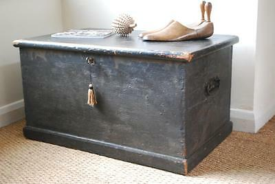 Original antique 1845 stained country pine box chest trunk