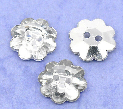 20/50 Diamonte Gem Crystal Flower Daisy Silver 2 hole Buttons DIY Sewing 13mm