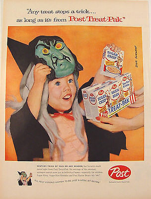 1957 Post Cereal Halloween Treat-Pak Ad Witch Child Artwork by Dick Sargent