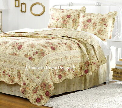 ANTIQUE ROSE King QUILT SET : CHIC CREAM YELLOW SHABBY VINTAGE COTTAGE ROSES
