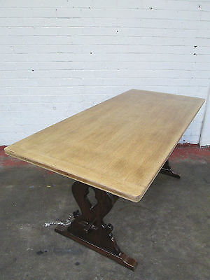 Antique Oak Refectory Dining Table Vintage Farmhouse