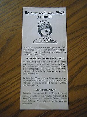 W.A.C. Recruiting Handout - dated 1943